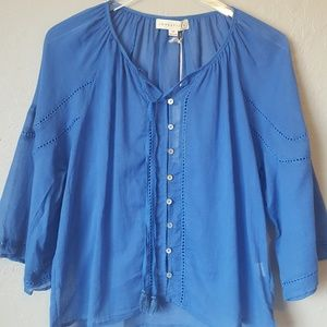 Love Stitch royal blue button up with tassels